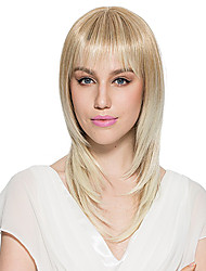 Bleach Blonde Wig Synthetic Fiber Wig Long Straight Women's Wig Hairstyle
