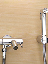 Bidet Faucets  ,  Traditional  with  Chrome Two Handles One Hole  ,  Feature  for Wall Mount Pull out