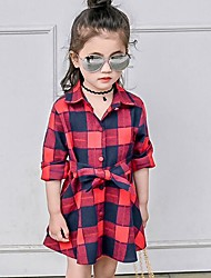 Girl's Plaid Dress,Cotton Summer Long Sleeve