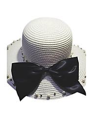 Women Sweet Straw Sun Bucket Hat Beach Hat Bowknot Pearls Casual Summer