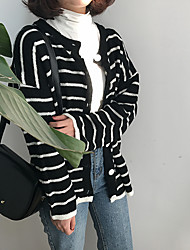 Sign spring navy wind hit the color striped cardigan sweater jacket