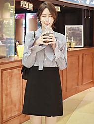 знак корейский дикий полосатый рубашку с длинными рукавами с натянутого лука блузке одну неделю отправка