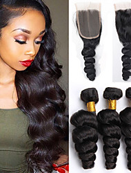 Vinsteen 8A Brazilian Virgin Hair Loose Wave with Closure Human Hair Weft With Closre 3bundles Loose Curly With Lace Closure