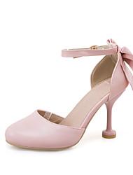 Saltos-Sapatos clube-Salto Agulha-Rosa Branco Bege-Courino-Casual