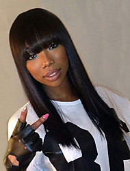 Natural Black Full Lace Human Hair Wigs Silky Straight Hair 130% Density Brazilian Virgin Hair Full Lace Wigs With Bang