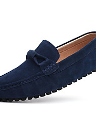 Men's Loafers & Slip-Ons Spring Fall Moccasin PU Outdoor Casual Flat Heel  Blue Brown Red Gray