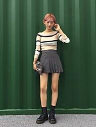 2017 Coreia do chique cobertura colar magro da fêmea camisola listrada de manga comprida camisa de outono e inverno retro