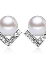 V Shaped Diamond Earrings Pearl Triangle
