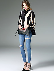 Women's Going out Work Simple Spring Blouse,Color Block Round Neck Long Sleeve Beige Black Silk Thin