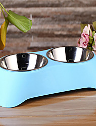 Hot New Pet Cat Dog Bowl Bowl Stainless Steel Double Bowl Leakproof Dog Food Pet Bowl Environmental Marketing