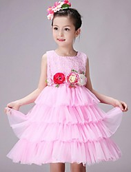 Ball Gown Knee-length Flower Girl Dress - Organza Jewel with Flower(s)