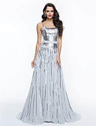 TS Couture®  Celebrity Formal Evening Dress - Sparkle & Shine Elegant A-line Spaghetti Straps Sweep / Brush Train Sequined withSash