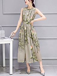 Women's Casual/Daily Holiday Vintage Sheath Dress,Floral Round Neck Maxi Sleeveless Cotton Polyester Summer Mid Rise Micro-elastic Medium