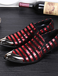 Men's Loafers & Slip-Ons/Fashion Dress/Novelty/Cowhide/Metallic toe/Wedding/Party & Evening