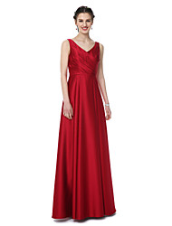LAN TING BRIDE Floor-length V-neck Bridesmaid Dress - Elegant Sleeveless Satin