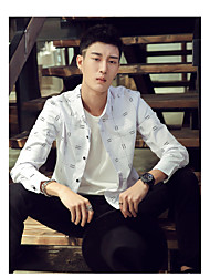 Men's spring long-sleeved shirt Slim Paul shirt pure white youth models inch shirt men work profession shirt