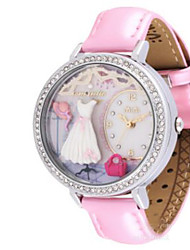 Men's Women's Fashion Watch / Quartz Leather Band Casual Brown Pink
