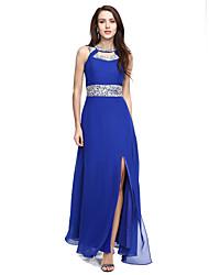 A-ligne scoop neck floor length chiffon robe de soirée formelle avec perles