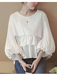 Women's Ruffle Going out Simple Shirt,Solid Round Neck Long Sleeve Polyester