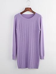 Damen Standard Pullover-Lässig/Alltäglich Einfach Solide Braun Gelb Lila Rundhalsausschnitt Langarm Polyester Herbst Mittel
