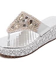 Damen-Sandalen-Kleid Lässig-PU-KeilabsatzGold Silber