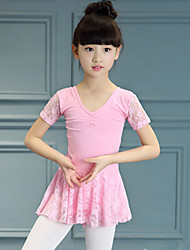 Ballet Dance Dress For Girls Children's Performance Cotton Lace Splicing 1 Piece Short Sleeve High Pink/Purple