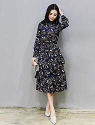 assinar modelos primavera vestido na seção longa 2.017 novas mulheres print floral coreano vestido de chiffon