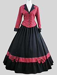Outfits Classic/Traditional Lolita Victorian Cosplay Lolita Dress Plaid Long Sleeve Long Length Top Skirt Petticoat For Cotton