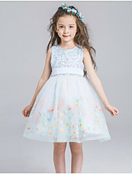 A-line Knee-length Flower Girl Dress - Organza Sleeveless Jewel with Lace