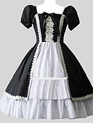 One-Piece/Dress Sweet Lolita Vintage Inspired Cosplay Lolita Dress Solid Puff/Balloon Short Sleeves Long Length Dress Petticoat For Cotton