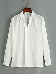 Женский Офис / На каждый день Весна / Лето Рубашка V-образный вырез,Секси / Простое Однотонный Белый Длинный рукав,Полиэстер,Средняя /