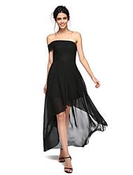 LAN TING BRIDE Asymmetrisch Chiffon Sexy Transparent Kleines Schwarzes Kleid Brautjungfernkleid - A-Linie Schulterfrei mit Plissee