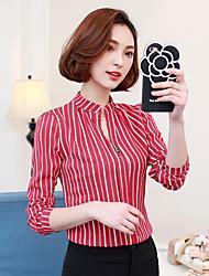 unterzeichnen neue Frühjahr 2017 Frauen&# 39; s beiläufige wilde gestreifte T-Shirt Druck Größe Chiffonhemd schlank