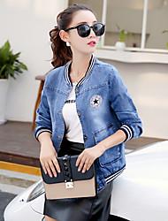 sinal 2016 hitz elegante jaqueta jeans de manga comprida era magro baseball jacket single-breasted roupas mulheres