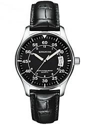 Relógio de Moda Quartzo Calendário Impermeável Couro Banda Casual Preta Branco Preto