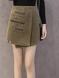 unterzeichnen 2017 neue hohe Taille Buchstaben gedruckt Stempel ein Wort Rock Reißverschluss Rock wollene Röcke