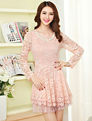 Sign 2017 spring new Korean temperament cultivating long-sleeved lace dress beaded long section of Spring