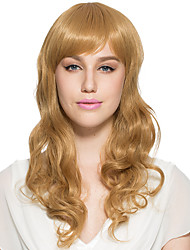 Capless Deep Wave Long Wig Golden Brown Top Quality Wig Synthetic Fiber Hairstyle