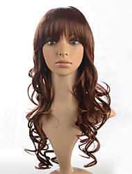 Synthetic Fiber Wig With Air Bangs Long Deep Wave Brown Women Wig