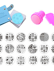 18pcs Nail Stamping Plates Polish Stencils For Nails 1Pcs Case For 5.7 Disc Template Scraper Stamp Nail Art Set Kits