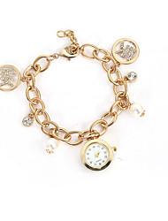 Armband-Uhr Quartz Legierung Band Silber Gold