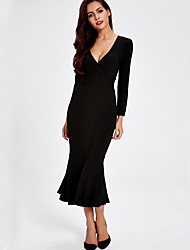 Formal Party/Cocktail Club Sexy Trumpet/Mermaid Sweater Dress,Solid Deep V Midi Long Sleeve Spandex Others Black All Seasons Mid Rise