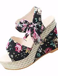Women's Sandals Summer Ankle Strap PU Outdoor Dress Wedge Heel Buckle Lace-up Black Blue Pink Walking
