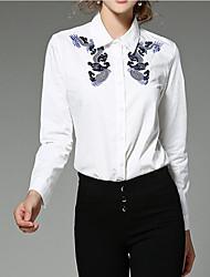 определить реальный выстрел - весной новые лацкане однобортный закрытия вышитые с длинными рукавами, белая рубашка женщина