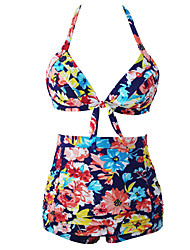 Women's Blooming Navy Retro High Waist 2 Pieces Swimsuit