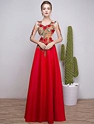 Formal Evening Dress A-line Scoop Ankle-length Satin Chiffon