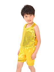 Shall We Jazz Outfits Kid Children Performance Sequins  Top Shorts