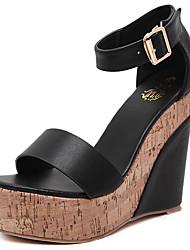 Sandálias-Sapatos clube-Anabela-Preto Branco-Couro Ecológico-Social