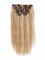 7pcs/set 14Inch Clip In Human Hair Extensions 85g Ombre Highlighted Straight Hair
