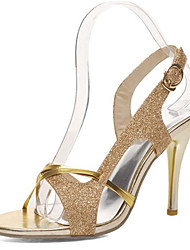 Women's Sandals Summer Club Shoes Glitter Customized Materials Party & Evening Dress Casual Stiletto Heel Buckle Split Joint Silver Gold